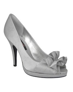 """For the girl looking for a sophisticated peep toe pump the Evelixa is the shoe for you. Lined in satin and accessorized with a pleated ribbon the Evelixa is the elegant accent for a pant suit, cocktail dress or gown for your special occasion • Satin Upper • Available in Bridal Basics Ivory and Silver • 4"""" Heel • Imported Pump"""