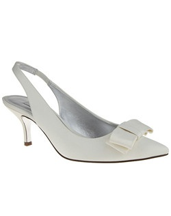 """""""The Beatrix sling back sandal is perfect combination of a fun, flirty and feminine attitude. A shoe that travels and transcends all outfits from formal to casual events, this sandal will be your favorite fashion piece this season.  • Sling back pointed toe sandal  • Satin blow • Adjustable ankle strap • Satin upper  • Available in bridal basics: Ivory • 2.5"""""""" Kitten heel • Imported"""""""