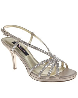"""""""The embellished halter straps on this sandal give it a sense of spring formal wear. • Sandal • Adjustable ankle strap with buckle closure • Stone embellished straps • Satin upper • Available in Bridal Basics ivory and silver • 3"""""""" Heel • Imported"""""""
