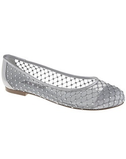 """Translucent mesh is the one of the biggest trends for spring. The Pauline ballet flat is an elegant mesh ballet flat decorated with angular sparklethreading and jewel detail.  This is the perfect work/play flat  that will keep you motivated the throughout the day.