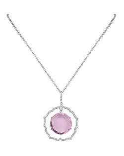 """""""Our Pyxis pendant is our medallion style amulet necklace that is forever eternal. Highlighting a gorgeous round cubic zirconia with a micro pave frame she will be your go-to statement necklace for all occasions. All sales final.  • Pendant Necklace  • Silver Tone • Cubic Zirconia • Lobster Claw Clasp • Pendant: • Chain: 16"""" Chain + 2"""" Extender • Imported """""""