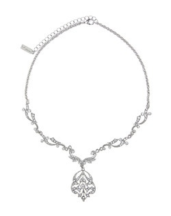 """""""A necklace that captures the grandeur of detailing in Edwardian jewelry. Intricately designed this necklace is sure to please all jewelry lovers. Complete the look with the matching Jaidyn earrings. All sales final. • Czech Crystal • Silver Tone • Lobster clasp closure • 18"""""""" Length • 1"""""""" Width • Imported """""""
