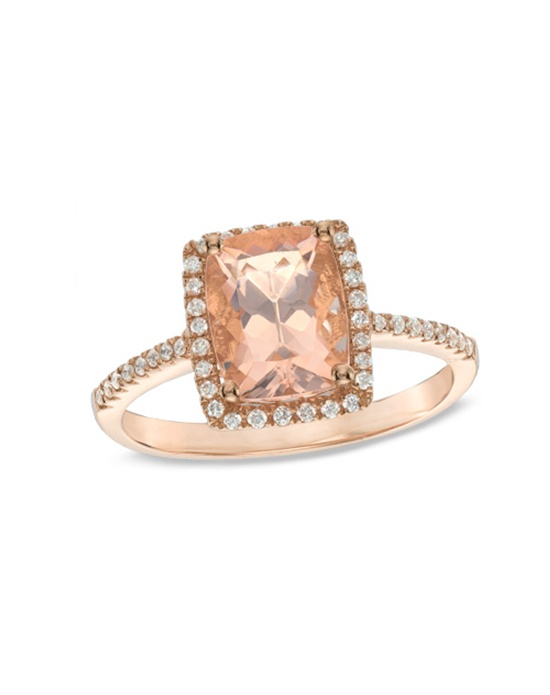 Zales Cushion Cut Morganite and 1 6 CT T W Diamond Ring in 10K Rose Gold