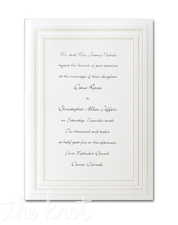 A double-beveled frame lined with pearl surrounds your words of invitation on this simple and cute invitation. 5 1/2&quot; x 7 3/4&quot;