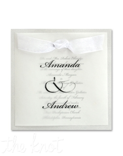 This elegant invitation features your names in the type style shown on a translucent vellum overlay.