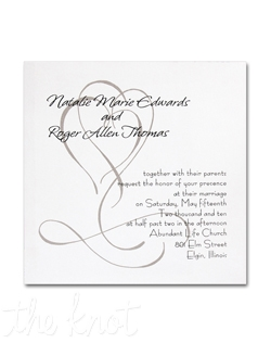 Your invitation wording is printed atop a taupe double-heart motif on a heavyweight square white card.