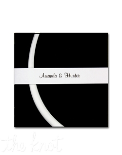 This unique presentation is an American Wedding exclusive! Your invitation wording is printed right-justified (as shown) in raised ink on a smooth heavyweight card. The card is tucked inside a sophisticated die-cut Black folder and topped with a personalized band printed in matte ink.