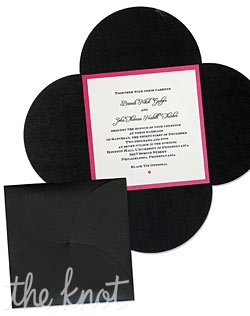 Design your own wedding invitation!  Over 80 different card stock colors and patterns, 22 ink colors, and 10 outer envelope colors, allow for endless combinations!  Our 5x5 Wedding Bloom invitation is a fun way to enclose your invitation and any other necessary accessory cards.  You can choose the bloom enclosure color, a backing layer color, and finally your invitation printing layer and enclosure cards.  Embellish with ribbon, flowers and crystals to create an invitation that is all your own!  Extra postage due to weight.