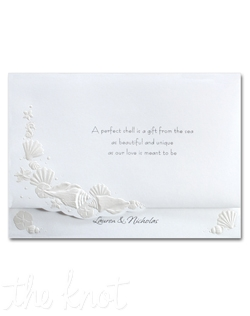 Seashells with pearlized embossing set the tone for this romantic invitation. Choose your own verse for the front panel. Your first names are printed at the bottom. The fan-fold format opens to reveal your invitation wording. 7 3/4&quot; x 5 1/2&quot;
