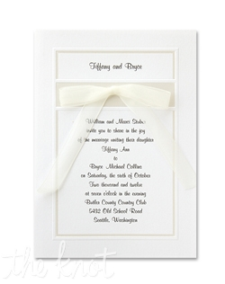 "Classically beautiful wedding invitations feature a deeply embossed border and accented in your choice of gold, silver or pearl. 5 1/2"" x 7 3/4"""