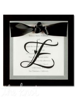 "The groom's last name initial takes center stage on translucent vellum over your printed invitation wording. Other colors available. 7"" x 7"""