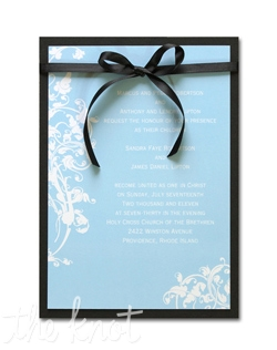 "Delicate vines and leaves, reminiscent of Venetian ironwork, adorn this simple, yet elegant, invitation. 5 1/2"" x 7 3/4"""