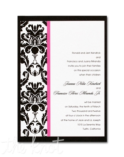 An elegant damask border and colorful vertical stripe accents the left side of this single panel invitation. Other colors available! 5 1/2&quot; x 7 3/4&quot;