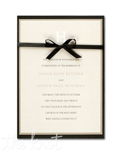 "This taupe bordered invitation features your new last name initial at the top and your words of invitation printed below. A black backer and ribbon finish the look of this elegant wedding invitation. 5 1/2"" x 7 3/4"""