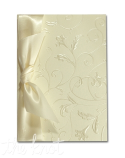 "Creamy ecru vellum, pearl embossed with floral vines, tied with a lush satin ribbon. 5 1/2"" x 7 3/4"""