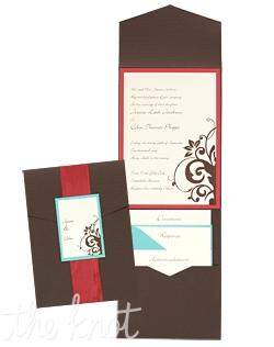 "Cassandra Folio Pocket Wedding Invitations are pretty and playful and will kick off your wedding with a trendy twist on a classic style. Your entire invitation will be presented as a beautiful package, with all your enclosure cards stacked and tucked neatly in its own little pocket. Choose from more than 90 paper and 24 ink colors to create a totally original wedding invitation style unlike any other. 5 1/4"" x 7 1/4"""