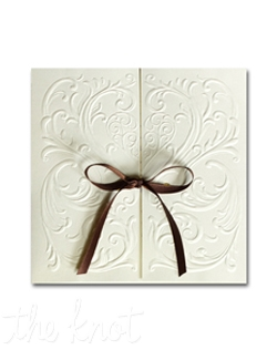 "A romantic heart surrounded by filigree is richly blind embossed on this invitation. 5 1/2"" x 5 1/2"""