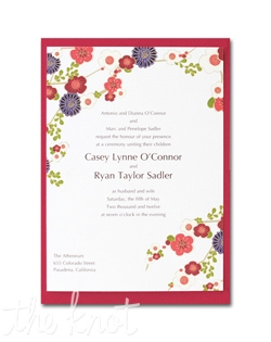 Colorful flowers in red, orange, purple and cream grace this cute invitation on a red heavyweight backer. 5 1/2&quot; x 7 3/4&quot;