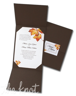 "The splendor of autumn is the backdrop for your words of invitation. The card is then tucked into a rich Chocolate Brown wrap and sealed with a label featuring the bride and groom's first names. 5 1/2"" x 7 3/4"""