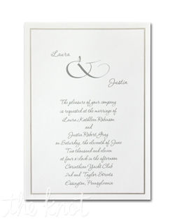 "Your names are offset by a stylish ampersand on this invitation of simple beauty. A single band of platinum borders your invitation wording. 5 1/2"" x 7 3/4"""
