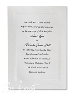 A traditional, socially correct triple bevel panel frames your words of invitation. Please see invitation showcase for additional card sizes and paper colors.