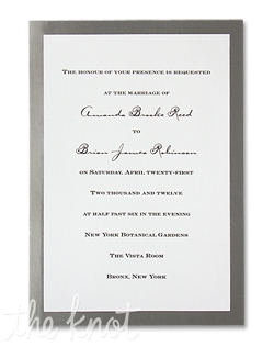 A classic silver foil border frames your invitation wording on this single panel card.