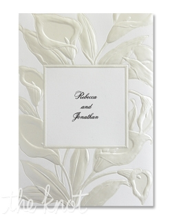 Pearlized embossing brings this bouquet of lilies to life. This fan-fold card features your first names on the front panel, a second panel for the verse of your choice, and the third panel for your words of invitation.