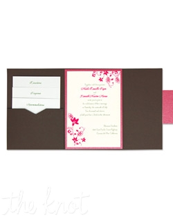 Fiona Folio Pocket Wedding Invitations manage to be both whimsical and sophisticated at the same time. With charming, cheerful blooms and curling vines peeking from the corners, all these details will be sure to make your wedding guests smile, and give them just a peek of the perfect day to come. Your entire invitation will be presented as a beautiful package, with all your enclosure cards stacked and tucked neatly in its own little pocket. Choose from more than 90 Paper Colors and 24 Ink Colors to create a totally original wedding invitation style unlike any other.