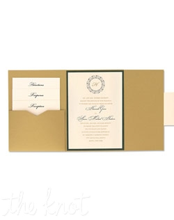 Hannah Folio Pocket Wedding Invitations are timeless, with an intricate emblem to embrace your monogram letter with classic style. Your entire invitation will be presented as a beautiful package, with all your enclosure cards stacked and tucked neatly in its own little pocket. Choose from more than 90 Paper Colors and 24 Ink Colors to create a totally original wedding invitation style unlike any other.
