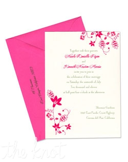 These beautiful Fiona wedding invitations manage to be both whimsical and sophisticated at the same time. With charming, cheerful blooms and curling vines peeking from the corners, all these details will be sure to make your wedding guests smile, and give them just a peek of the perfect day to come. These gorgeous wedding invitations and enclosure cards can be customized with your choice of over 90 paper colors and 24 ink colors. MyGatsby's exclusive collection of discount, customizable wedding invitations allows you to create the unique wedding invitations of your dreams.