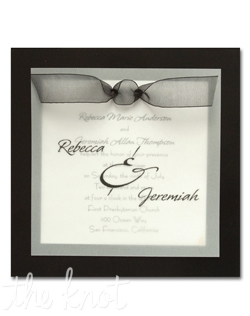 This classy wedding invitation features your names in the typestyle shown on a sheer vellum overlay embellished with a sheer bow.