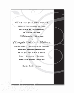 This single panel invitation is decorated with a delicate swirl pattern and the right border is available in a choice of colors.