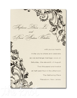 This appealing invitation starts with pearlized heavyweight single panel card in your choice of colors. A beautiful flourish design frames your first names and invitation wording. The color of the flourish design will be the same color as the ink you choose for the wording. We recommend darker ink colors for this invitation.