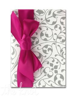 Your words of invitation are printed on single panel White card and then wrapped in an exquisite folder bedecked with vines and leaves. The double-faced satin ribbon adds an additional accent for a truly unique look.