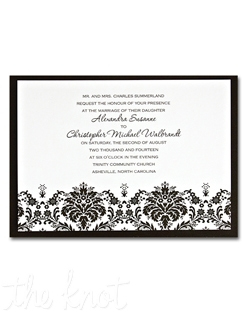 We&#39;ve taken our popular single panel Damask Edge invitation and added a Black backer for a layered look.