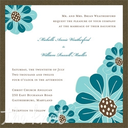 Colorful brilliance meets shimmering radiance with this romantic layered ensemble by IB Designs.  Perfect for spring and summer weddings, this layered wedding invitation features a crystal shimmer top card detailed with aqua and dark teal floral blooms in the upper left and lower right corners.  A chocolate shimmer bottom card cleanly finishes this contemporary ensemble.  This invitation is also available in pink and orange blooming combinations.