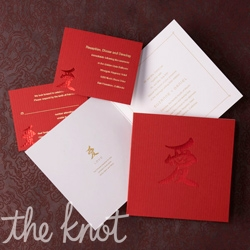 Celebrate your lineage with this cultural side-fold square invitation by Embossed Graphics which features a red pepper cover delicately foiled with the Chinese symbol for love.  Open the cover to reveal a gold foil Chinese love symbol and interpretation along with your classic wedding invitation.  This Asian infused invitation is the perfect way to embrace two merging cultures joined by love.