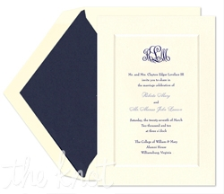 Just like your love, this classically elegant wedding invitation ensemble embodies romance, simplicity and purity with its clean lines and fresh ivory undertone.  This traditional invitation features an outer beveled border which modestly encloses your wedding details.  Pair your wedding invitation with a coordinating response card or stationery set for a truly romantic impression.