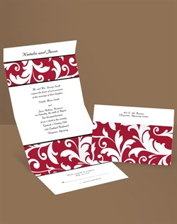 Silhouettes of bold flourishes create a stylish look that's sure to impress your guests when they receive this red flourish, seal and send wedding invitation. This seal and send invitation comes with clear round seals, but you can shop our wedding seals collection to find seals that match perfectly.