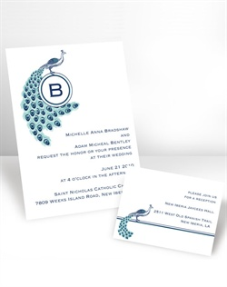 Looking for a peacock invitation to coordinate with your wedding theme? You and your guests are going to love this white, non-folding wedding invitation with a posh peacock design showcasing your single-initial monogram. Your choice of typestyle for the wording. Format only available as shown. Enclosures and thank you notes are printed on non-folding cards. This invitation can be used for Wedding Invitations or Wedding Announcements!