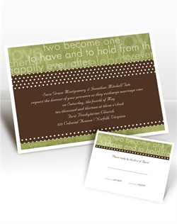 You&#39;ve been caught! This invitation will show guests just what you&#39;ve been dreaming about since the two of you met. Design color in Kiwi and your choice of typestyle. Format only available as shown. Imprint color for wording only available as shown. Enclosures and thank you notes are printed on non-folding cards.