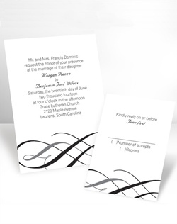 A wedding invitation with style, elegance and eye-catching color. Your choice of imprint color and typestyle for your wording on this white, non-folding invitation. Enclosures and thank you notes are printed on non-folding cards. This invitation can be used for Wedding Invitations or Wedding Announcements!
