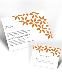 Guests will delight in the fresh floral design accompanying your wording on this invitation. Tangerine design with your choice of imprint color for your wording. Your choice of typestyle. Format only available as shown. Enclosures and thank you notes are printed on non-folding cards.