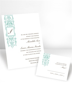 Give your soon-to-be last name the emphasis it deserves on this white, non-folding invitation featuring an elegant column design and a frame around the last name initial. The initial is printed in the same imprint color as your wording. Please note: when your order is printed, initial will be centered within the box. Your choice of typestyle. Format only available as shown. Enclosures and thank you notes are printed on non-folding cards. This invitation can be used for Wedding Invitations or Wedding Announcements!