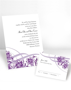 A colorful floral sketch accented by faint flourishes in the background creates a touch of whimsical charm on this white, non-folding invitation. Choose an imprint color and typestyle for your wording. Format only available as shown. Enclosures and thank you notes are printed on non-folding cards. This invitation can be used for Wedding Invitations or Wedding Announcements!