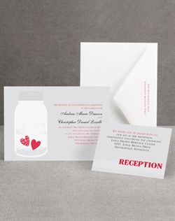 You've captured each other's hearts, and the sweet little hearts in the vintage jar design on this wedding invitation are the perfect way to show it! The gray background highlights your wording, which is printed in your choice of imprint colors and typestyles. The hearts are printed in the main imprint you choose for your wording. Invitation includes inner and outer envelopes.