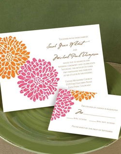 If love is like a dance, this invitation is the first step. Two flowers in complementary pink and orange appear side by side for an invitation with soft, romantic appeal. Your choice of typestyles and imprint colors. Format only available as shown.