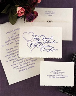 Beautiful words and a pair of linked hearts start this invitation in a romantic way. The French-fold of natural parchment features the verse and design shown on the front and your wording printed inside. All wording and the design are printed in the same ink color. A deckled front edge adds a delicate touch.