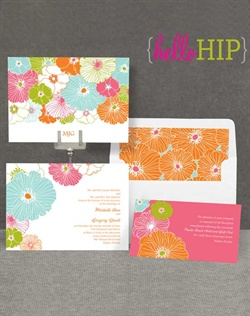 Bold blossoms in a fresh color scheme of pink, orange, aqua and green make a pretty, hip statement on this double-sided wedding invitation. Your wording is printed on the front in the format shown in your choice of two imprint colors and two lettering styles. Your initials or other personalization is printed on the back. Invitation includes inner and outer envelopes.