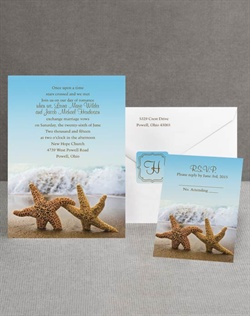 A pair of romantic starfish at the beach sets the tone for your own tropical wedding or beach wedding! The colorful photograph forms the background for the entire wedding invitation. Choose two lettering styles and two imprint colors for your wording. Invitation includes inner and outer envelopes.